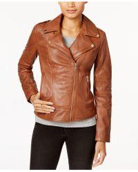 Guess - Asymmetrical Leather Moto Jacket - Lyst