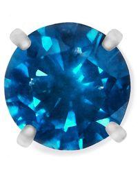 Macy's Single Stud Diamond Earring In Stainless Steel (1/4 Ct. T.w.) - Blue