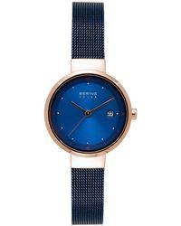 Bering Solar Powered Blue Stainless Steel Mesh Bracelet Watch 26mm