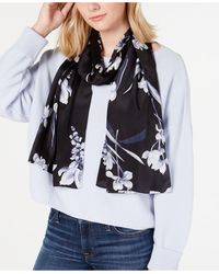 Echo Floral Painting Silk Oblong Scarf - Black