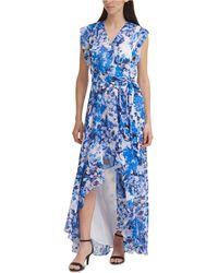Eliza J High-low Faux-wrap Dress - Blue