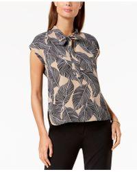 Nine West - Printed Tie-neck Top - Lyst