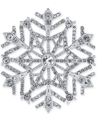 Charter Club - Silver-tone Crystal Snowflake Pin, Created For Macy's - Lyst