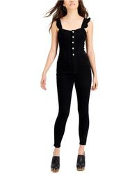 Almost Famous Crave Fame Juniors' Ruffle Strap Overalls - Black