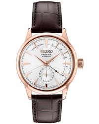 Seiko Automatic Presage Brown Leather Strap Watch 42mm