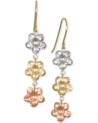 Macy's - Tri-color Flower Drop Earrings In 10k Gold, White Gold & Rose Gold - Lyst