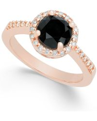 Macy's Diamond Halo Ring (1-3/4 Ct. T.w.) In 14k Rose Gold - Metallic