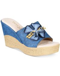 Easy Street Castello Wedge Sandals - Blue