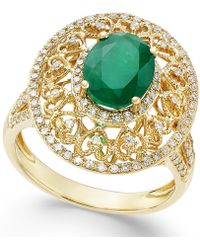 Effy Collection - Effy® Emerald (1-1/2 Ct. T.w.) And Diamond (1/2 Ct. T.w.) Antique Ring In 14k Gold - Lyst