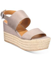 DV by Dolce Vita Venice Platform Wedge Sandals - Gray