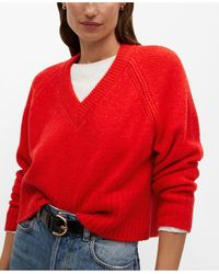Mango V-neck Sweater - Red