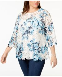 Charter Club - Plus Size Floral-print Lace Top, Created For Macy's - Lyst