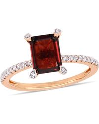 Macy's - Garnet (2-1/8 Ct.t.w.) And Diamond (1/10 Ct.t.w.) Ring In 10k Rose Gold - Lyst