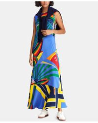 5fe72778086 Lyst - Polo Ralph Lauren Linen Eyelet Maxi Dress in White