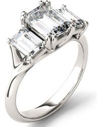 Charles & Colvard Moissanite Emerald Three Stone Ring (2-9/10 Ct. Tw.) In 14k White Gold - Metallic