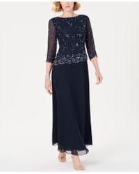 J Kara - Petite Embellished Asymmetrical Gown - Lyst