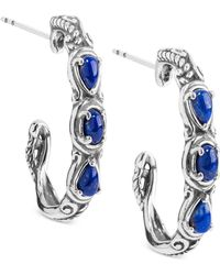 Carolyn Pollack - Lapis Lazuli Hoop Earrings (1 Ct. T.w.) Hoop Earrings In Sterling Silver - Lyst