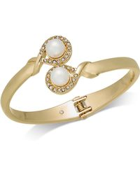 Charter Club - Gold-tone Imitation Pearl & Pavé Bypass Hinged Bangle Bracelet, Created For Macy's - Lyst