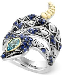 Effy Collection Sapphire (7/8 Ct. T.w.) And Blue Topaz (1/2 Ct. T.w.) Snake Ring In Sterling Silver And 18k Gold