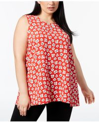 Anne Klein - Plus Size Printed Trapeze Top - Lyst