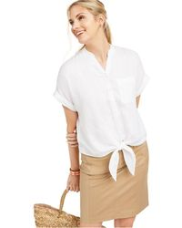 Charter Club Linen Tie-front Button-up Shirt, Created For Macy's - White