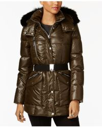 Andrew Marc - Coyote-fur-trim Hooded Puffer Coat - Lyst