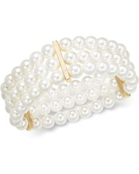 Charter Club - Gold-tone Imitation Pearl Triple-row Stretch Bracelet, Created For Macy's - Lyst