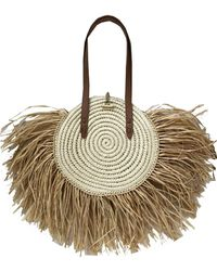 INC International Concepts Inc Melania Straw Fringe Circle Tote, Created For Macy's - Natural