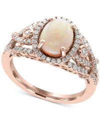 Effy Collection Opal (1 Ct. T.w.) And Diamond (1/2 Ct. T.w.) Ring In 14k Rose Gold - Metallic