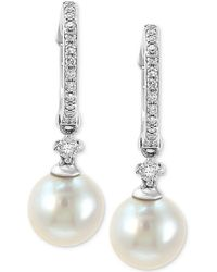 Effy Collection - Effy® Cultured Freshwater Pearl (7mm) & Diamond (1/6 Ct. T.w.) Hoop Drop Earrings In 14k White Gold - Lyst