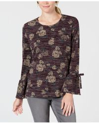 Style & Co. - Petite Scoop-neck Lantern-tie Long Sleeve Top, Created For Macy's - Lyst