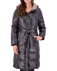 Vince Camuto High-shine Belted Puffer Coat - Black