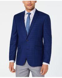 Kenneth Cole Reaction Slim-fit Stretch Bright Blue Plaid Sport Coat