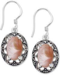 Macy's - Marcasite & Pink Shell Oval Filigree Drop Earrings In Fine Silver-plate - Lyst