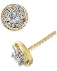 Macy's - Diamond Swirl Round Stud Earrings (1/4 Ct. T.w.) In 10k Gold - Lyst