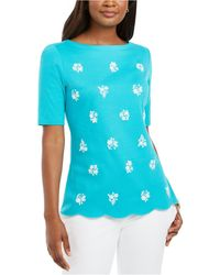 Karen Scott Printed Scalloped Cotton Top, Created For Macy's - Blue