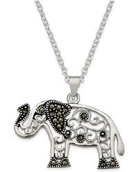 Macy's - Marcasite Filigree Elephant Pendant Necklace In Silver-plate - Lyst