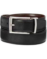 Perry Ellis Saffiano Leather Reversible Belt - Brown