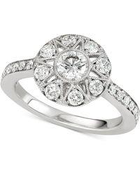 Marchesa Diamond Halo Engagement Ring (1 Ct. T.w.) In 14k White Gold - Metallic