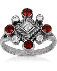2028 Pewter Crystal Diamond Shaped Ring - Red