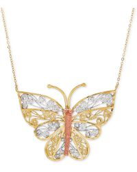 "Macy's - Tricolor Butterfly Filigree 17"" Pendant Necklace In 10k Gold - Lyst"