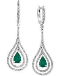 Effy Collection - Emerald (1-1/8 Ct. T.w.) And Diamond (3/4 Ct. T.w.) Earrings In 14k White Gold - Lyst