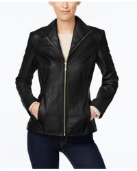 Cole Haan - Signature Petite Leather Moto Jacket - Lyst
