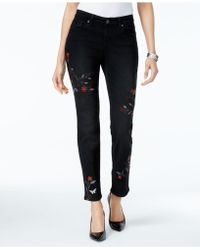 Style & Co. - Petite Embroidered Slim Ankle Jeans - Lyst