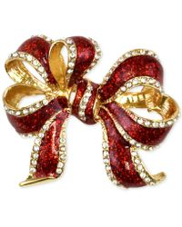 Charter Club - Gold-tone Red Glitter Bow Pin, Only At Macy's - Lyst