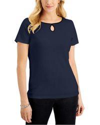 Karen Scott Short-sleeve Keyhole Boat-neck Top, Created For Macy's - Blue