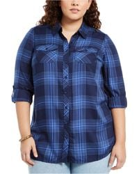 Style & Co. - Plus Size Plaid Utility Shirt, Created For Macy's - Lyst