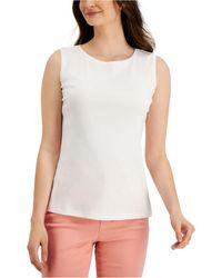 Karen Scott Cotton Scoop-neck Top, Created For Macy's - White