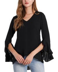 Vince Camuto Flutter-sleeve Top - Black