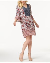 Style & Co. - Petite Mixed-print Peasant Dress, Created For Macy's - Lyst